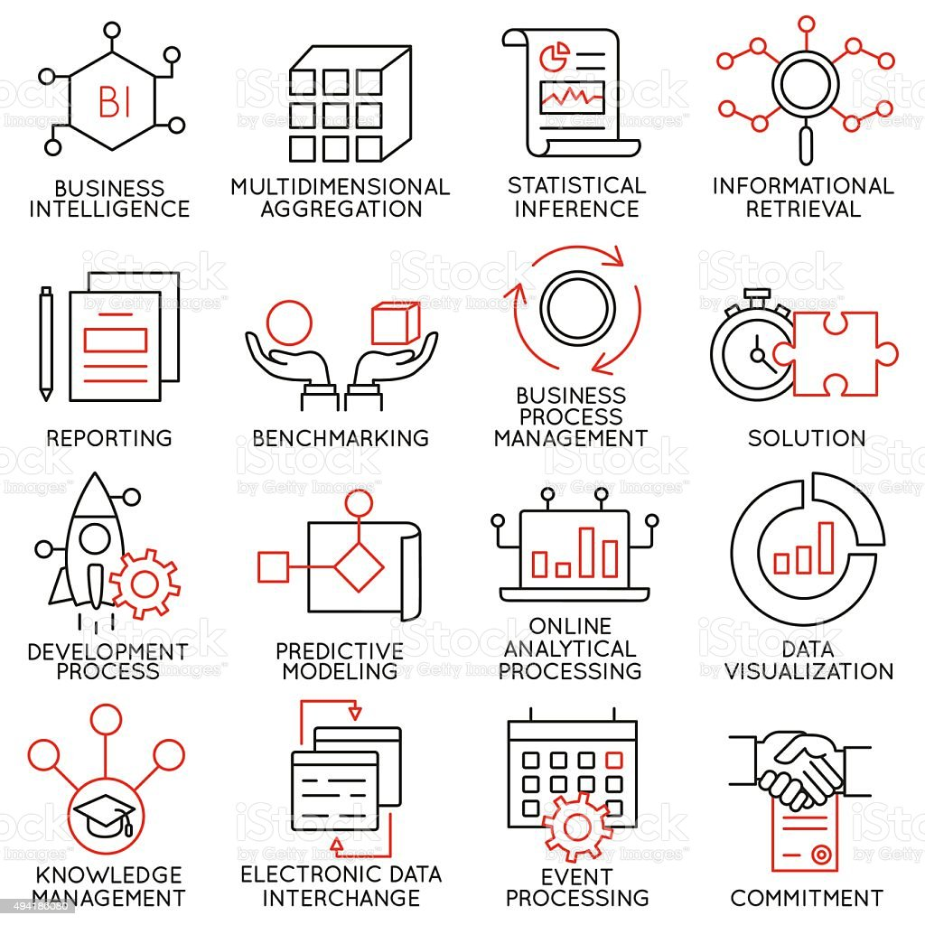 Set of icons related to business management - part 25 vector art illustration