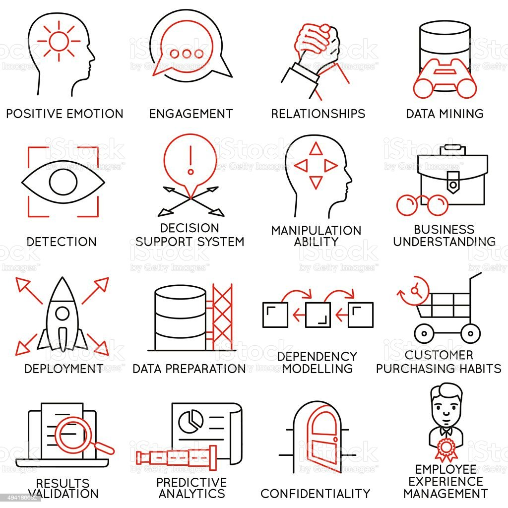 Set of icons related to business management - part 26 vector art illustration