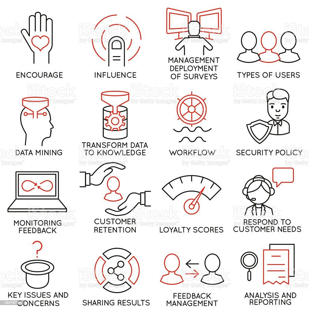 Set of icons related to business management - part 27 vector art illustration