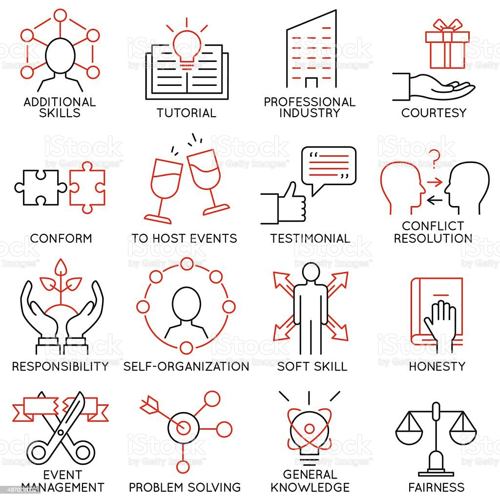 Set of icons related to business management - part 28 vector art illustration