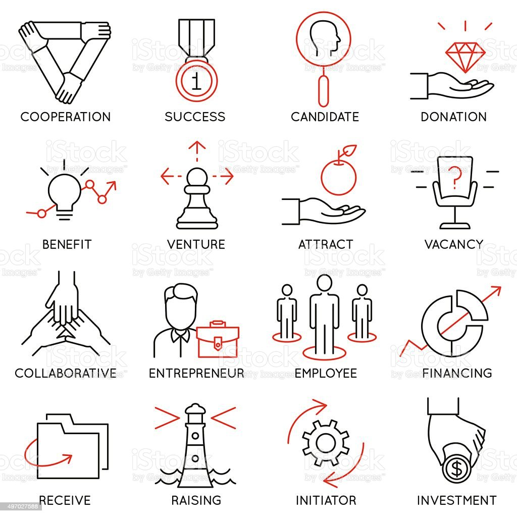 Set of icons related to business management - part 30 vector art illustration