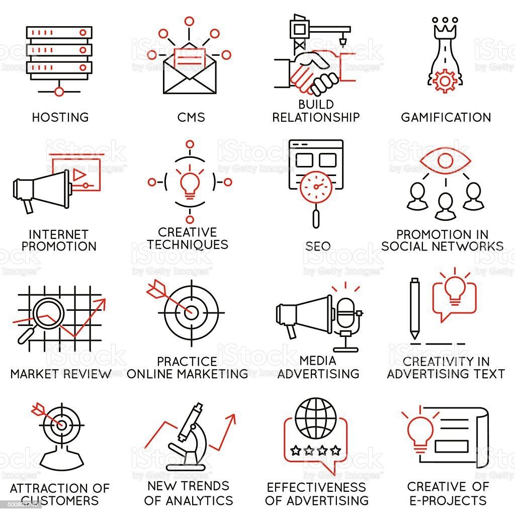 Set of icons related to business management - part 32 vector art illustration