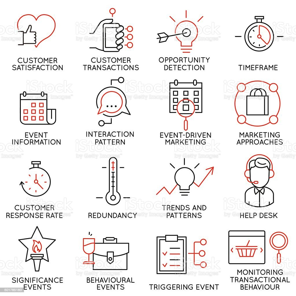 Set of icons related to business management - part 34 vector art illustration