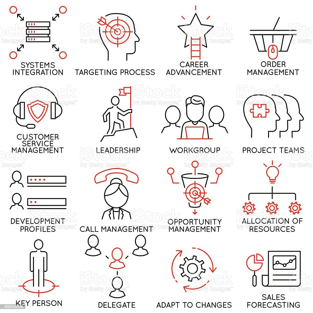 Set of icons related to business management - part 36 vector art illustration