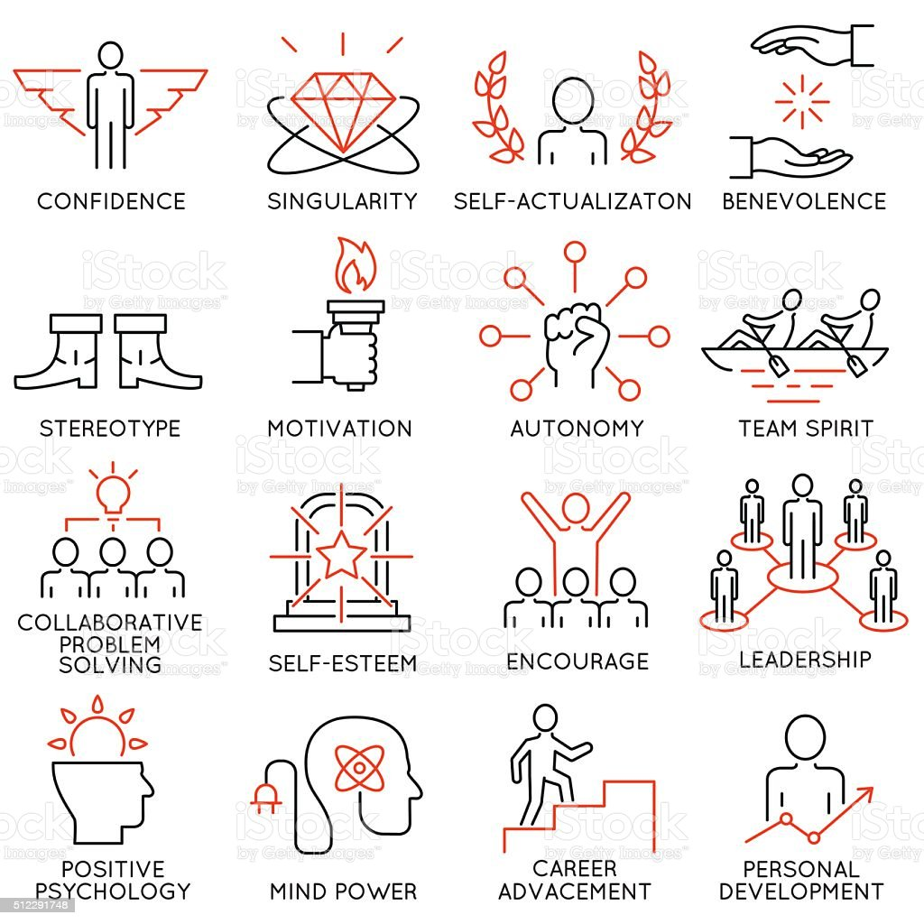 Set of icons related to business management - part 43 vector art illustration