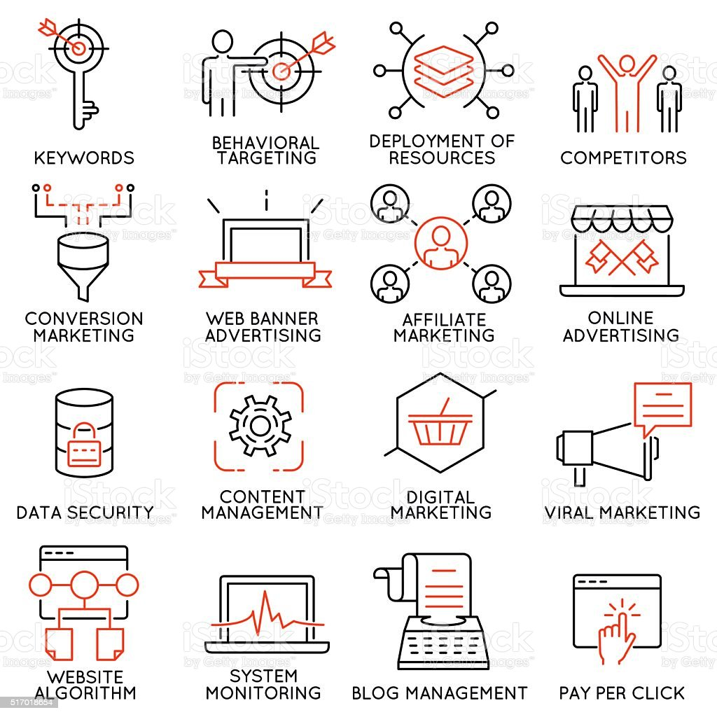 Set of icons related to business management - part 45 vector art illustration