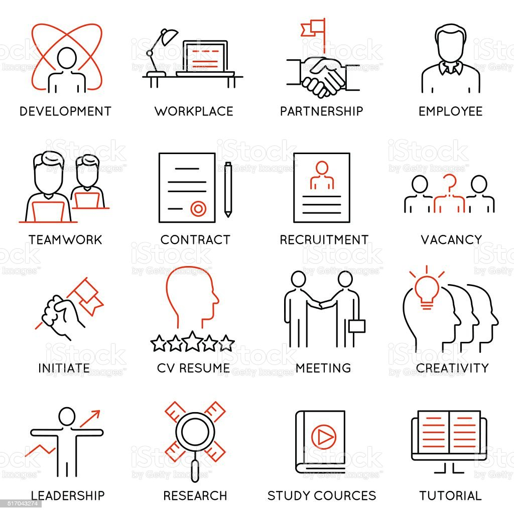 Set of icons related to business management - part 46 vector art illustration