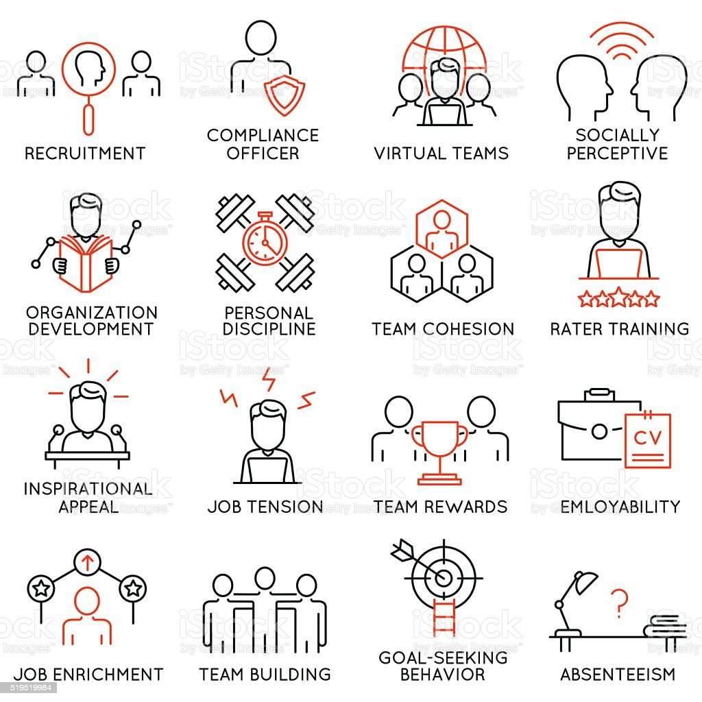 Set of icons related to business management - part 49 vector art illustration