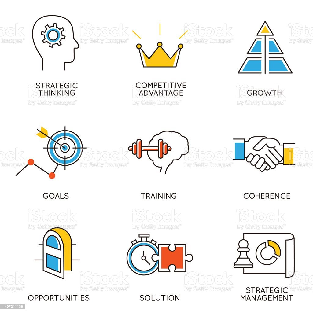 Set of icons related to career progress - part 3 vector art illustration