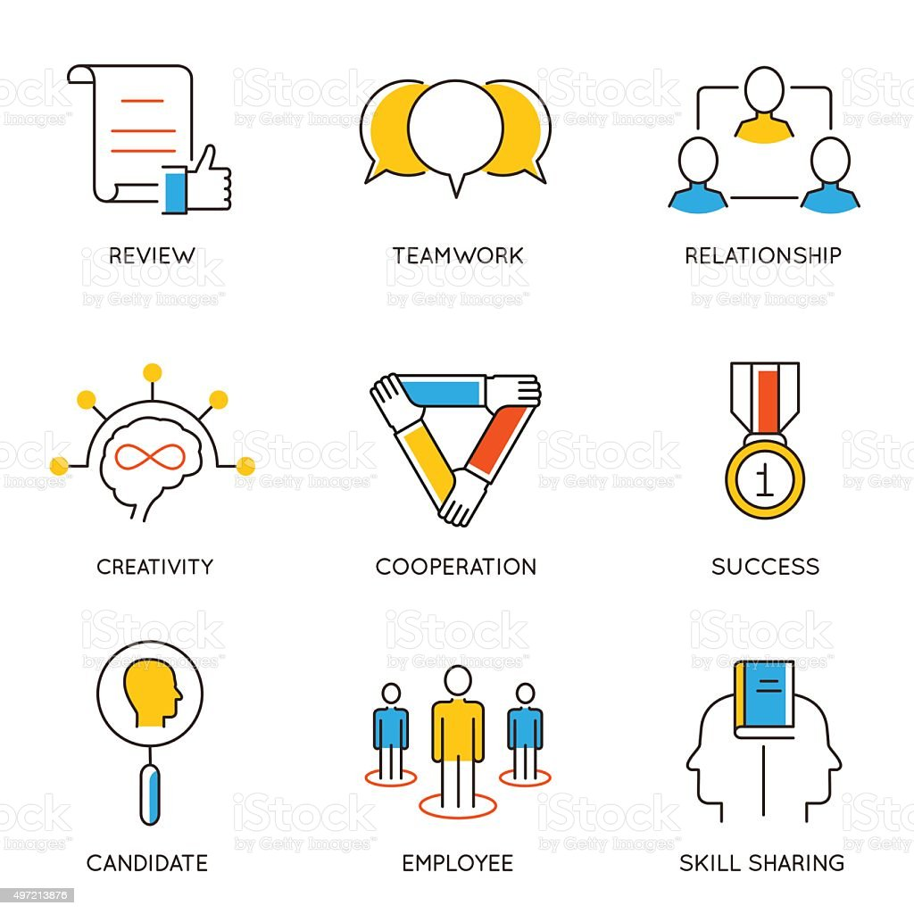 Set of icons related to career progress - part 8 vector art illustration