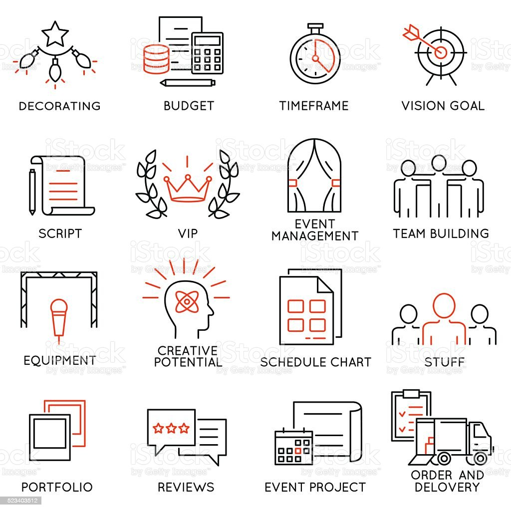 Set of icons related to event management - part 1 vector art illustration