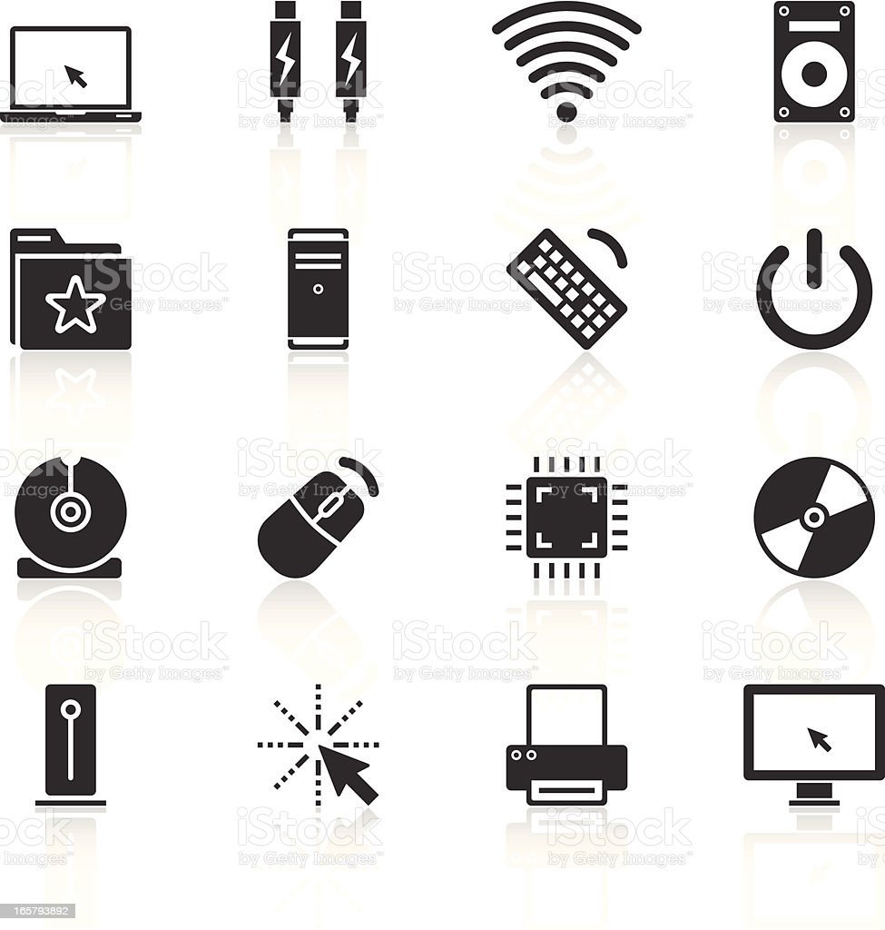 Set of icons relating to computing vector art illustration