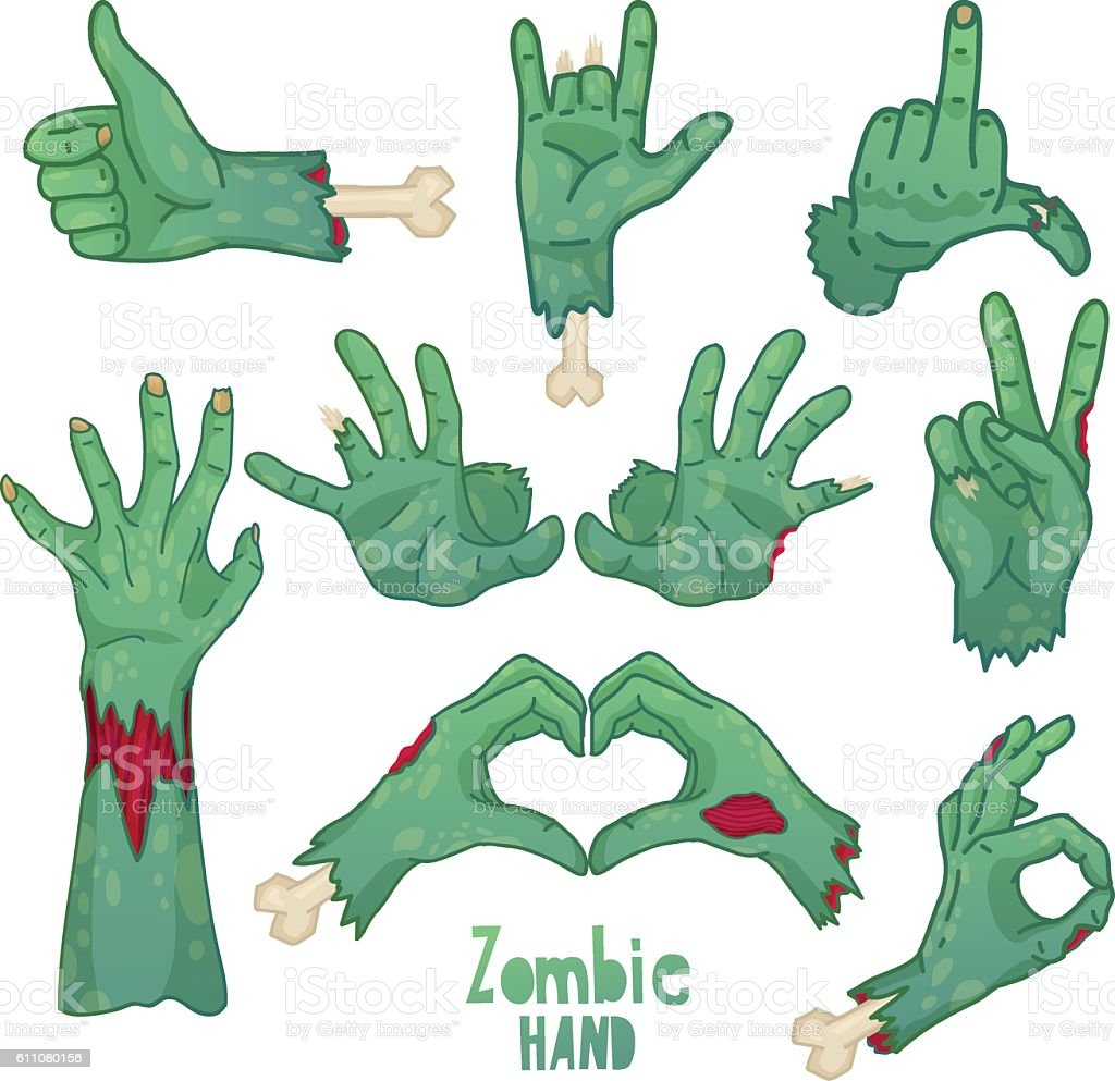 Set of icons, symbols, pin with cartoon zombie hands. vector art illustration