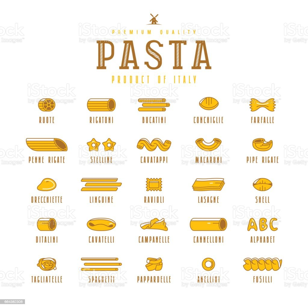 Set of icons varieties of pasta vector art illustration