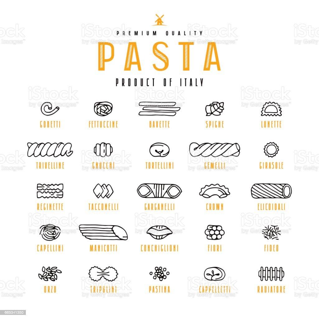 Set of icons varieties of pasta vector art illustration