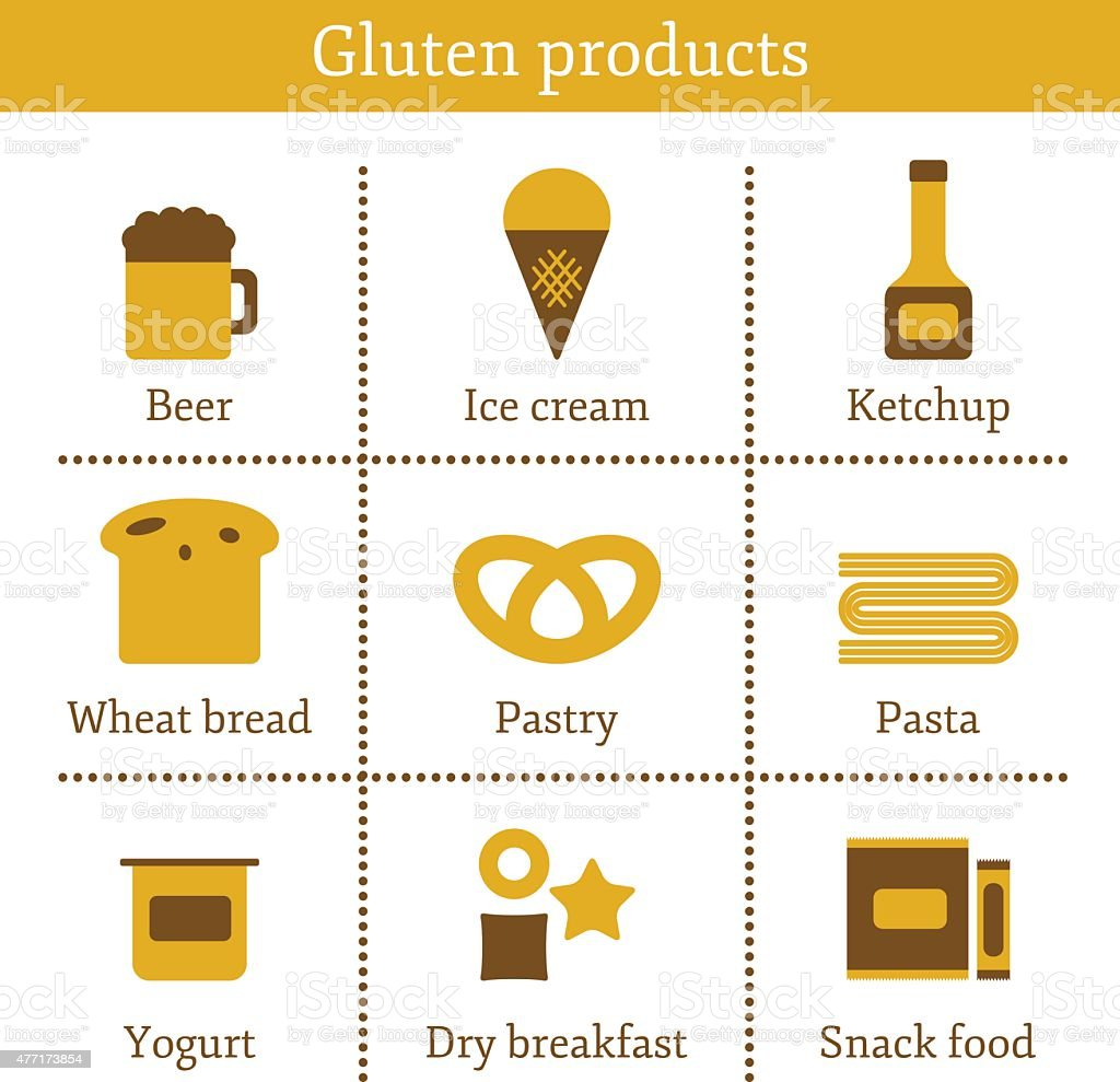 Set of icons with allergic gluten products: bread, pastry, pasta vector art illustration