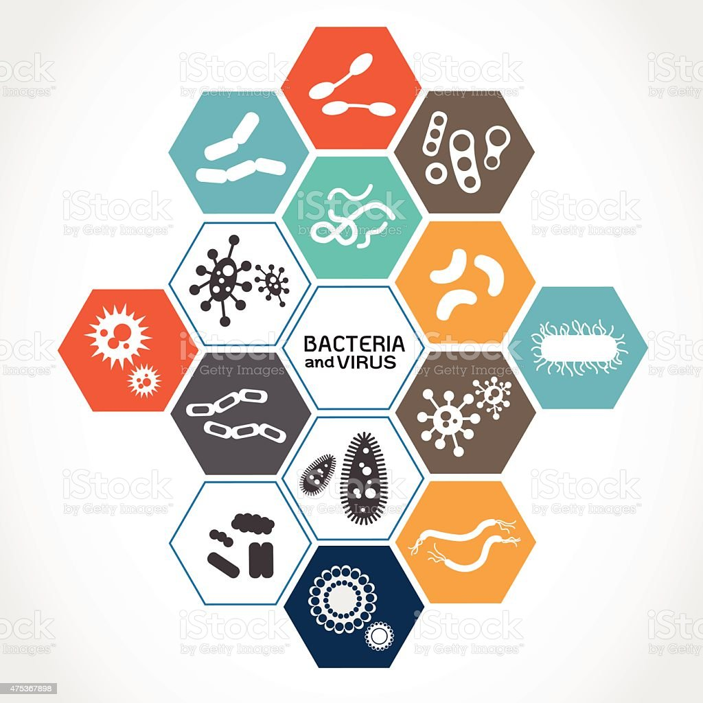 Set of icons with bacteria and virus vector art illustration