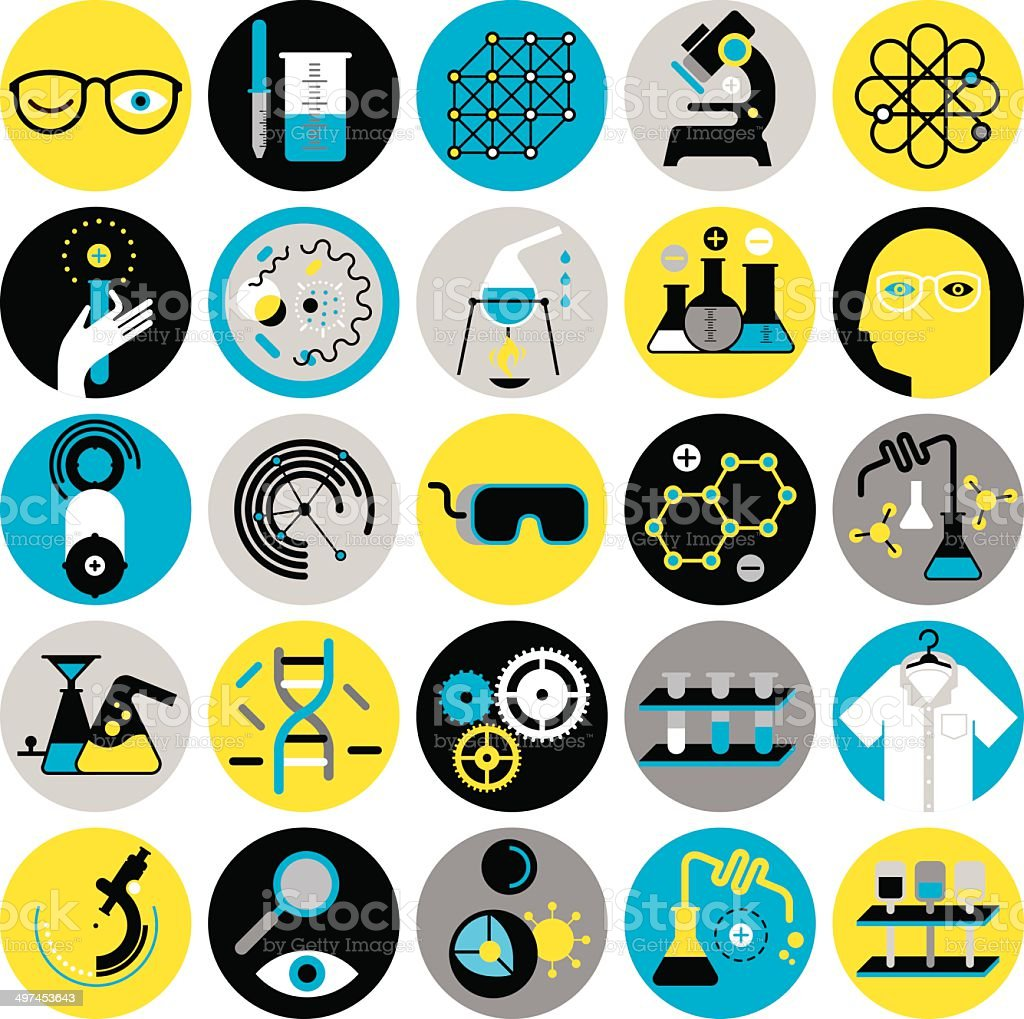 Set of icons with chemistry and science symbols vector art illustration