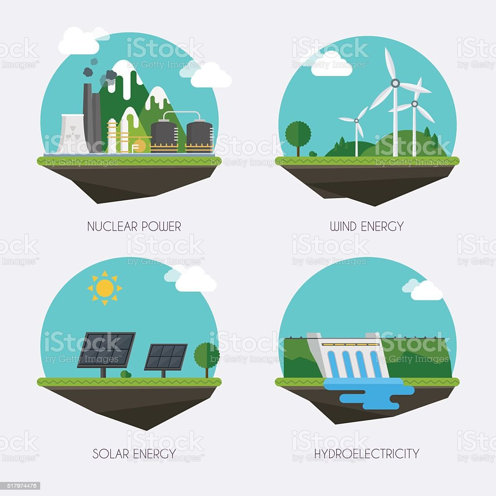 Set of icons with different types of electricity generation. Lan vector art illustration