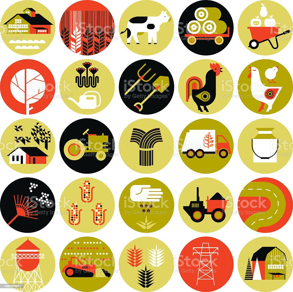 Set of icons with farming silhouettes vector art illustration