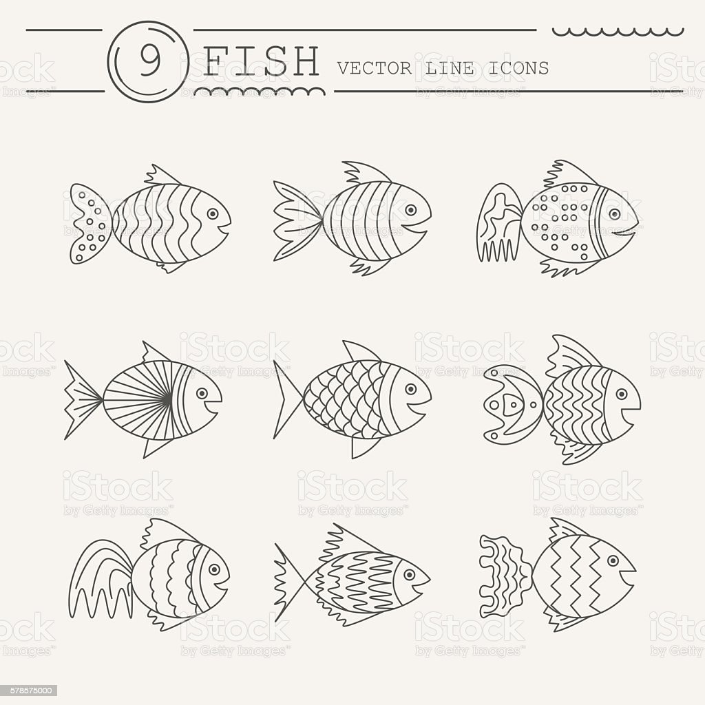 Set of icons with fish. Vector royalty-free stock vector art