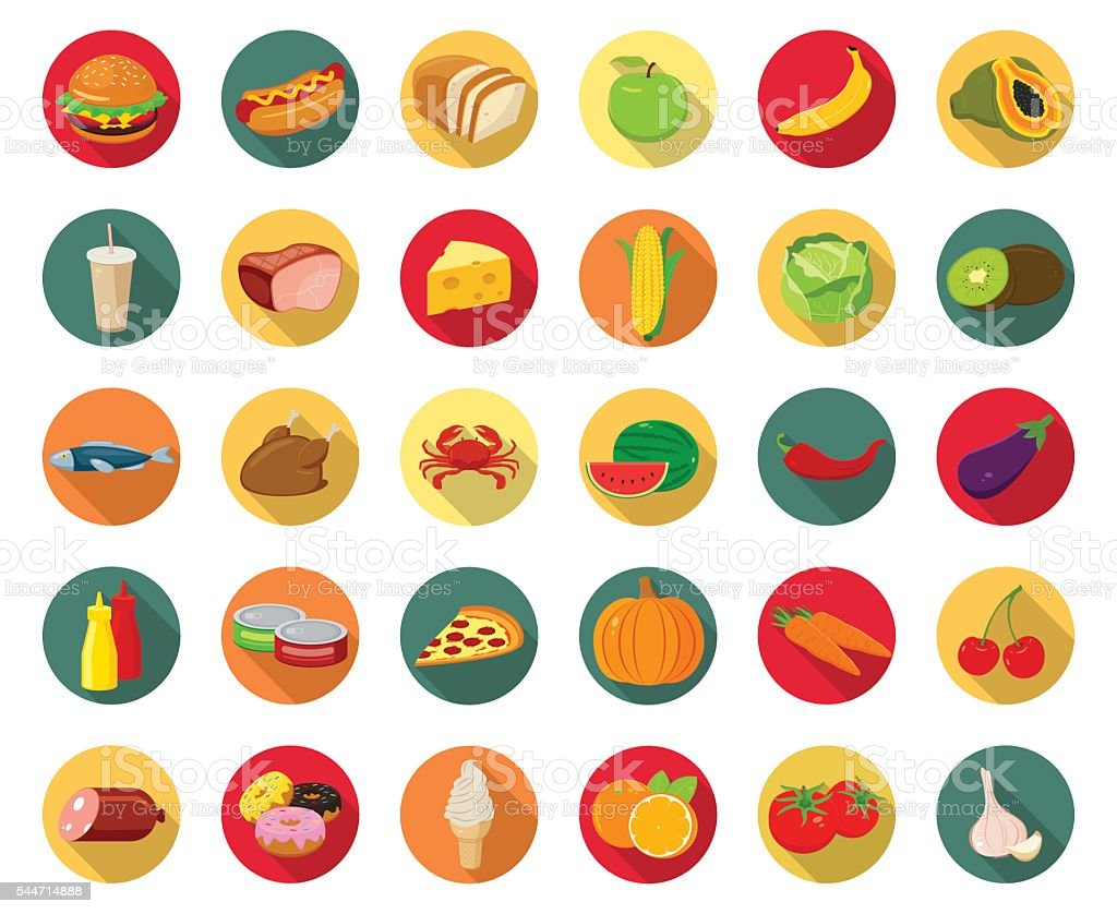 Set of icons with food and drinks for restaurant royalty-free stock vector art