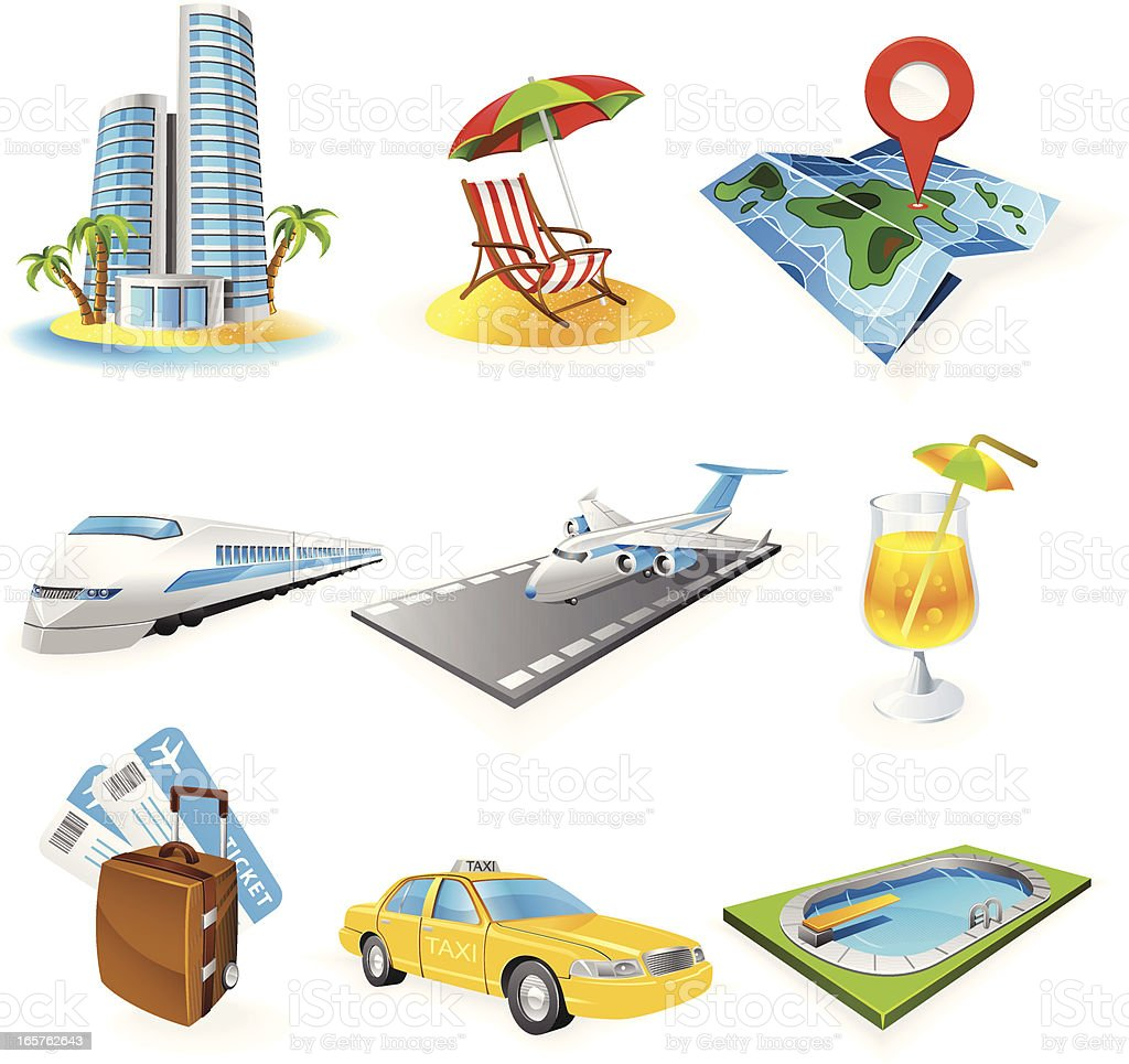 Set of illustrated travel icons royalty-free stock vector art