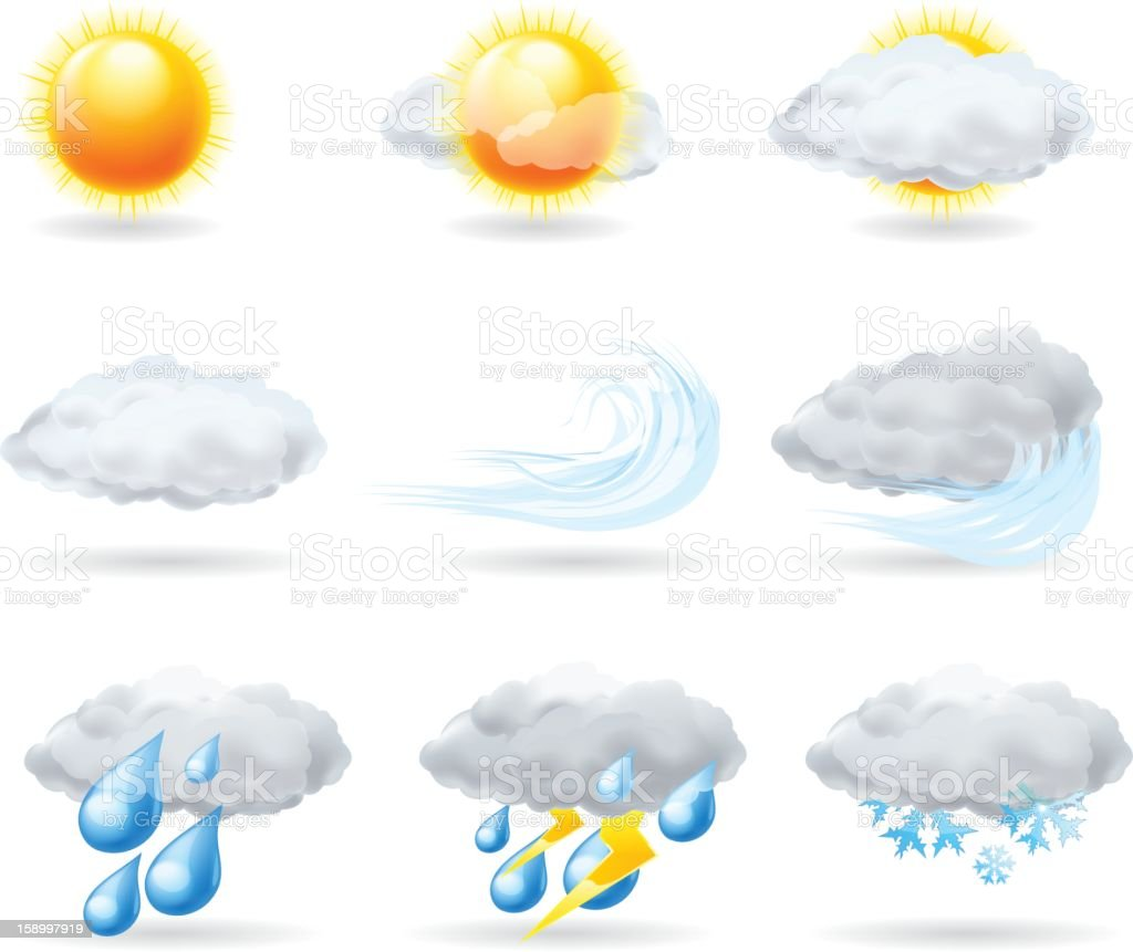 Set of illustrated weather icons isolated on white royalty-free stock vector art