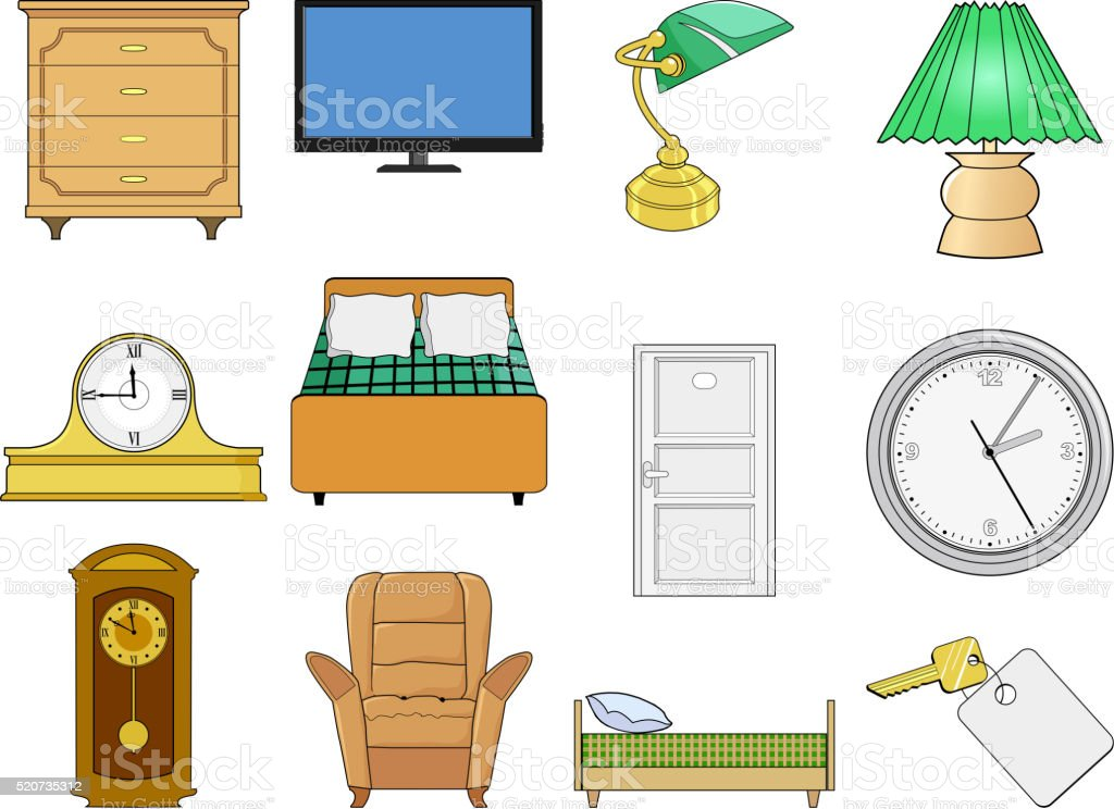 set of illustration of objects of interior vector art illustration