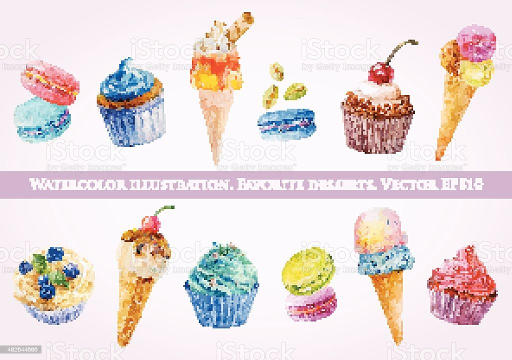 Set of illustrations of ice cream, muffins and macaroons. vector art illustration