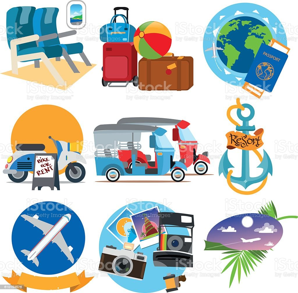 Set of illustrations on the theme of summer. vector art illustration
