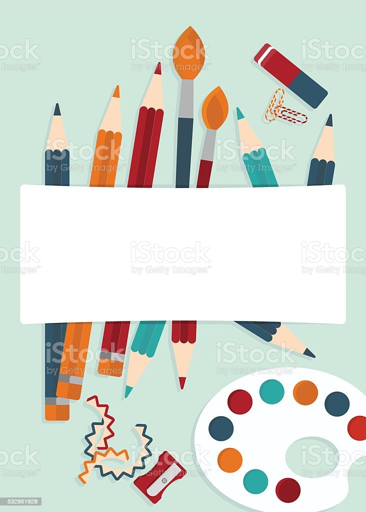 set of illustrator tools vector art illustration