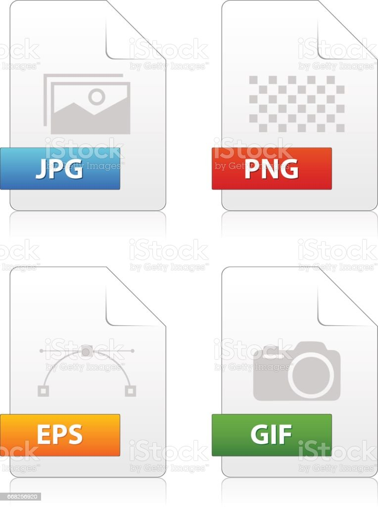 Set of image file type icons vector art illustration