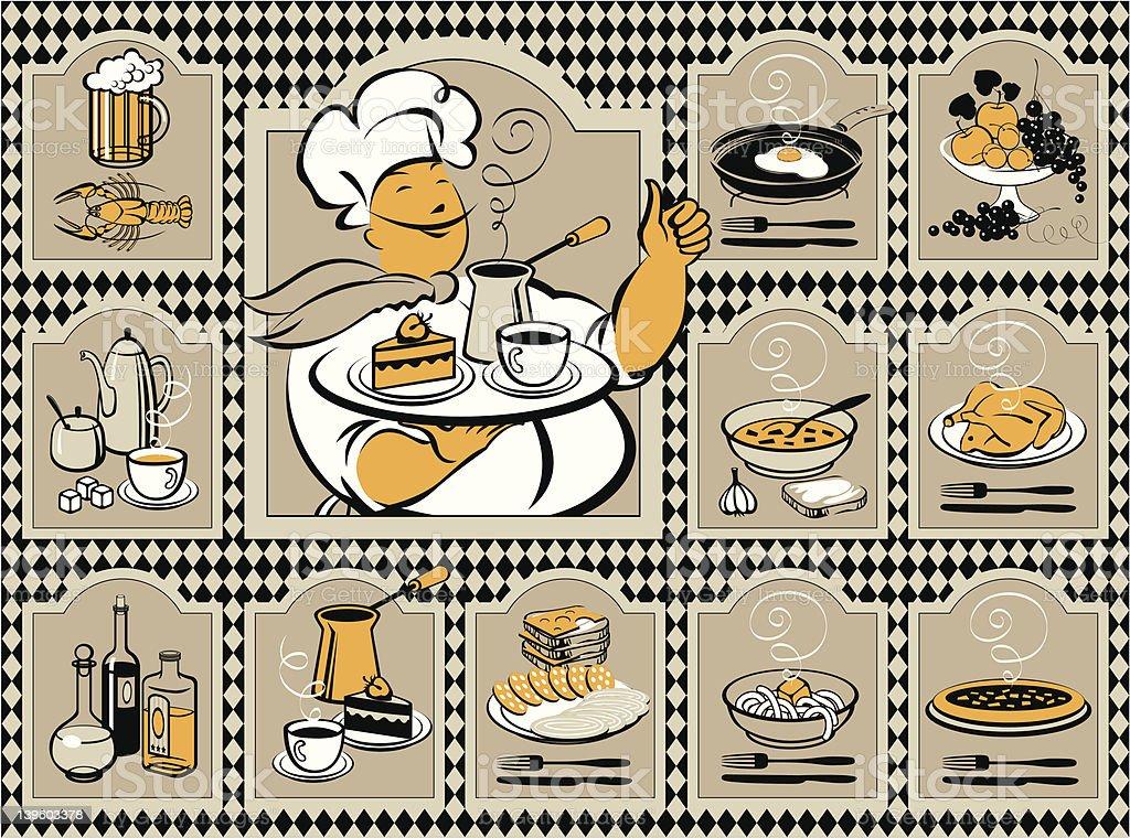 set of images for the menu vector art illustration
