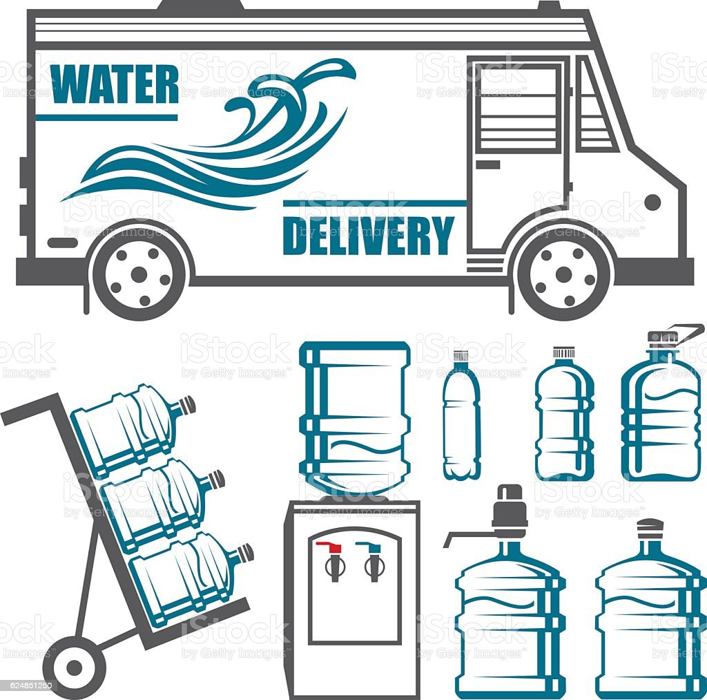 Set of images for water delivery vector art illustration