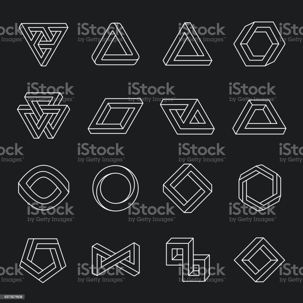 Set of impossible shapes vector art illustration