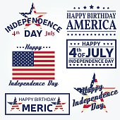 Set of Independence day greeting cards, flyers.