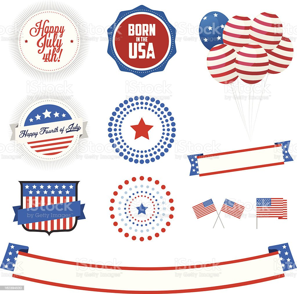 Set of Independence Day labels and design elements royalty-free stock vector art