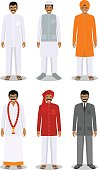 Set of indian men in the traditional clothing. Vector illustration.
