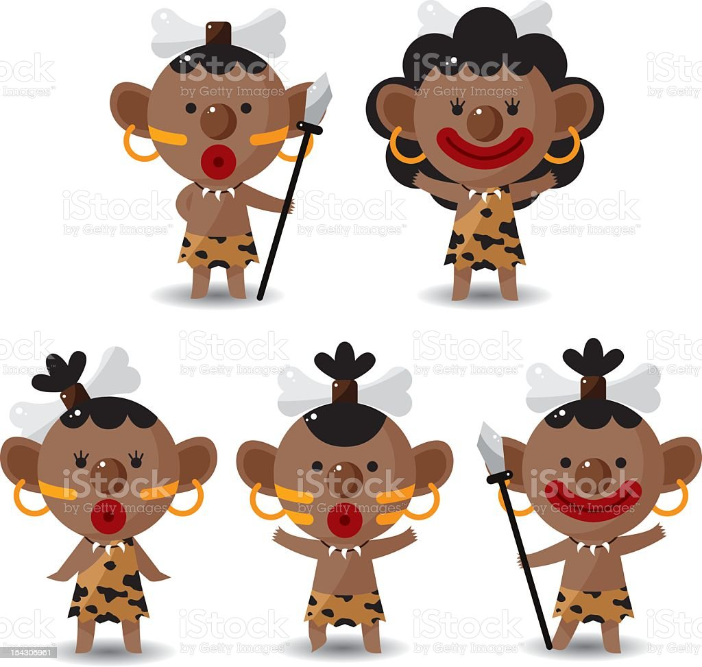 set of Indigenous people royalty-free stock vector art
