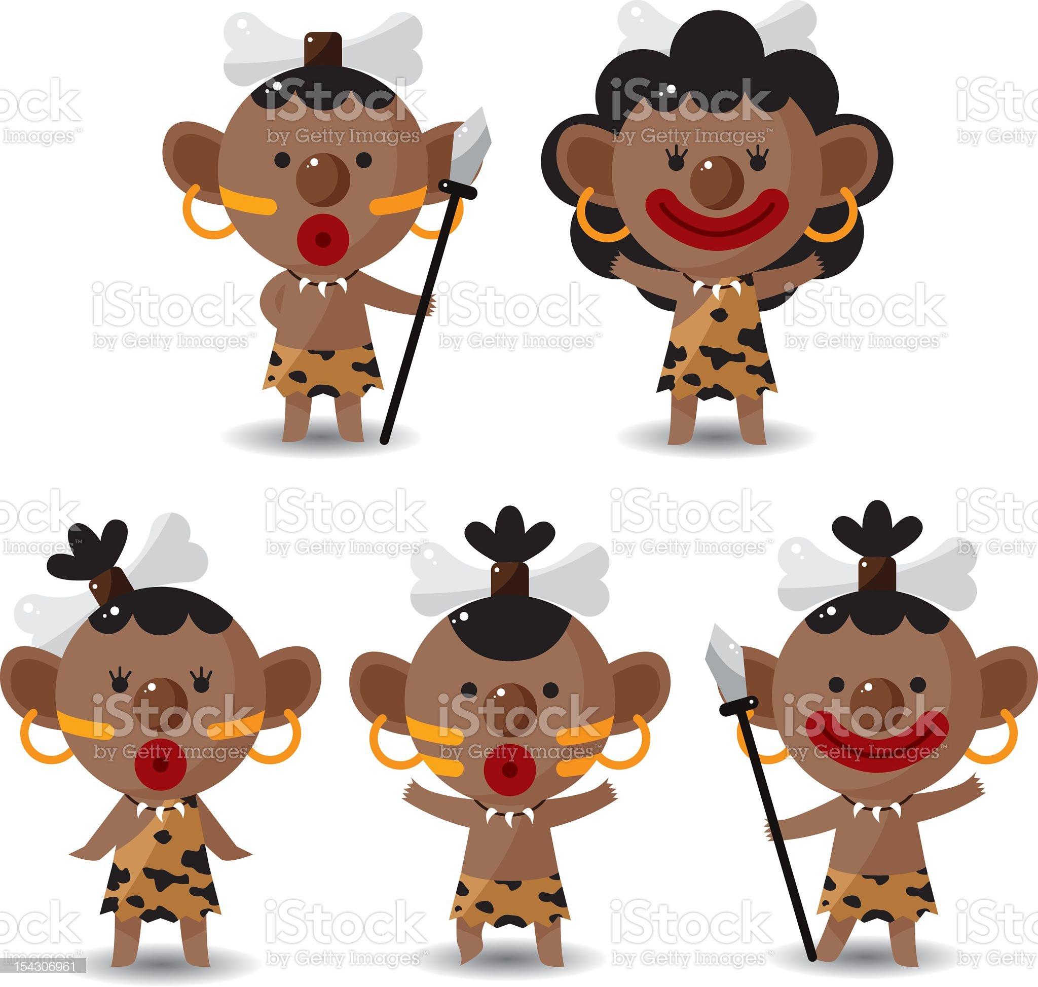 set of Indigenous people royalty-free stock photo