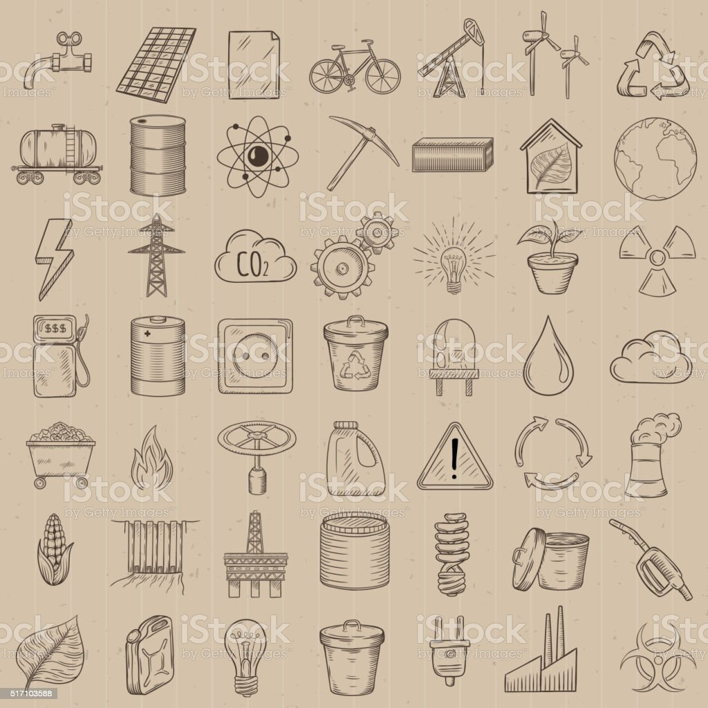 Set of industrial and ecology icons. vector art illustration