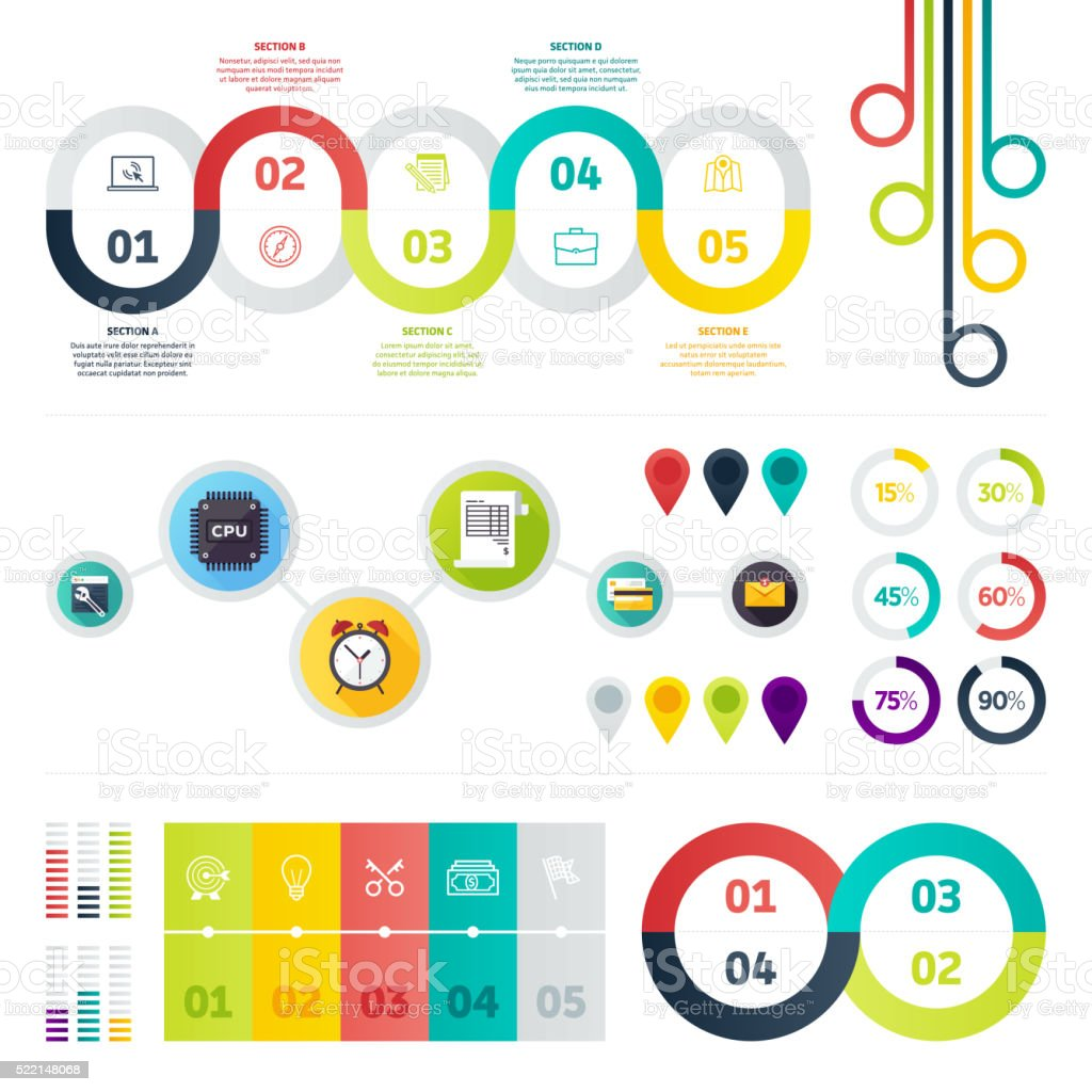 Set of Infographic Elements vector art illustration