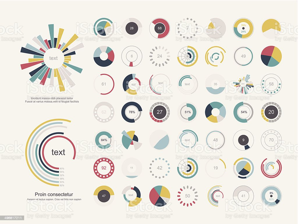 Set of infographic pie charts vector art illustration