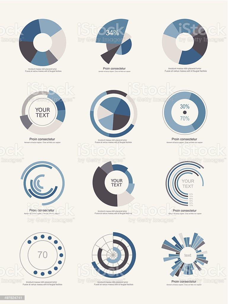 Set of info-graphic pie charts vector art illustration