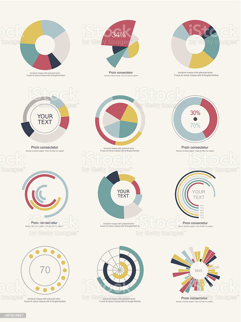Set of info-graphic pie charts vector art illustration