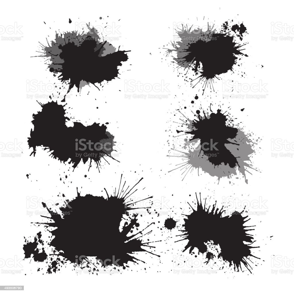 Set of ink splashes vector art illustration