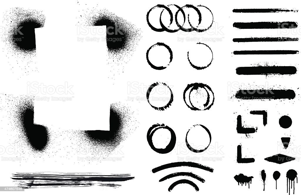set of inky grunge and stencil shapes vector art illustration