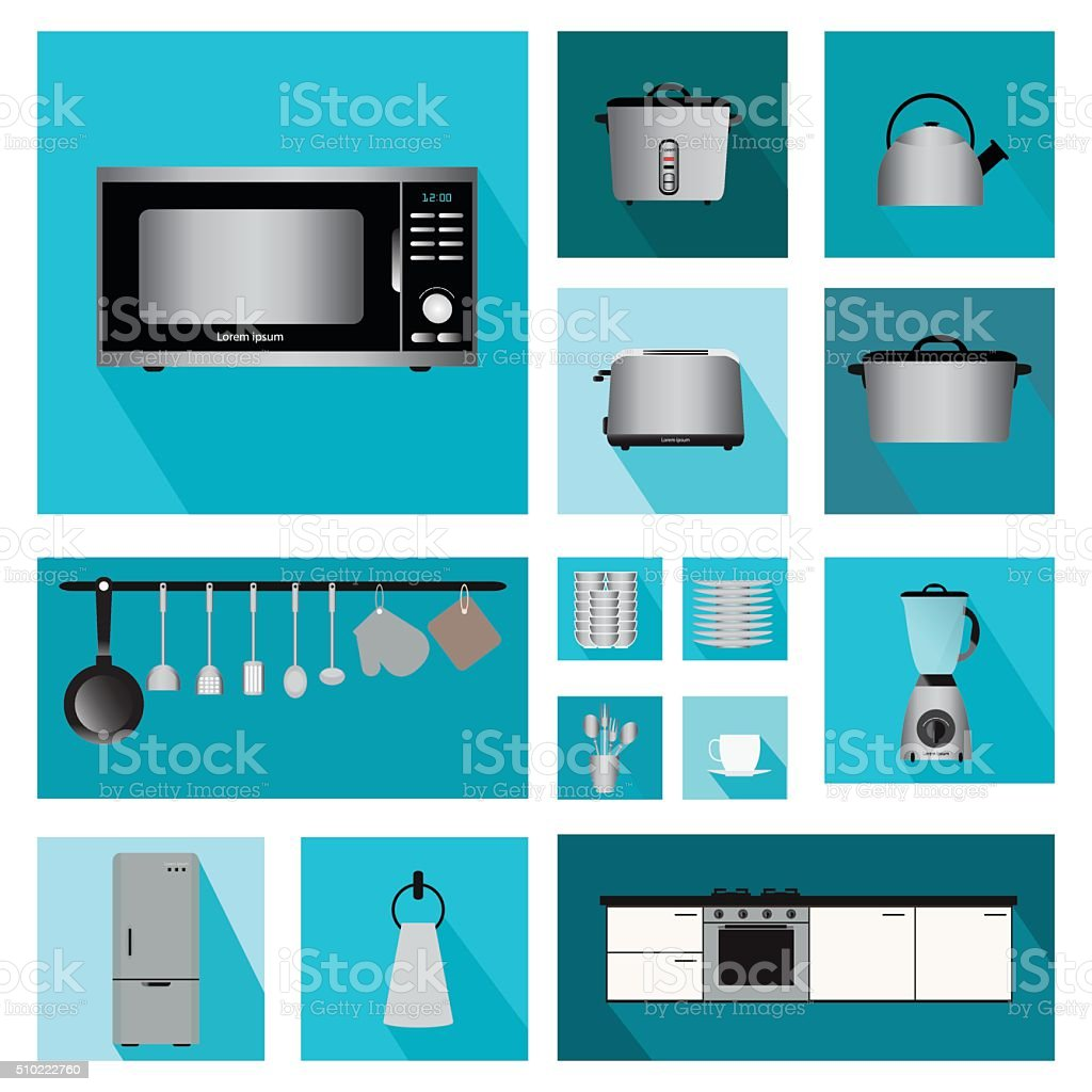 Set of Interior kitchen with kitchen shelves and cooking utensils. vector art illustration