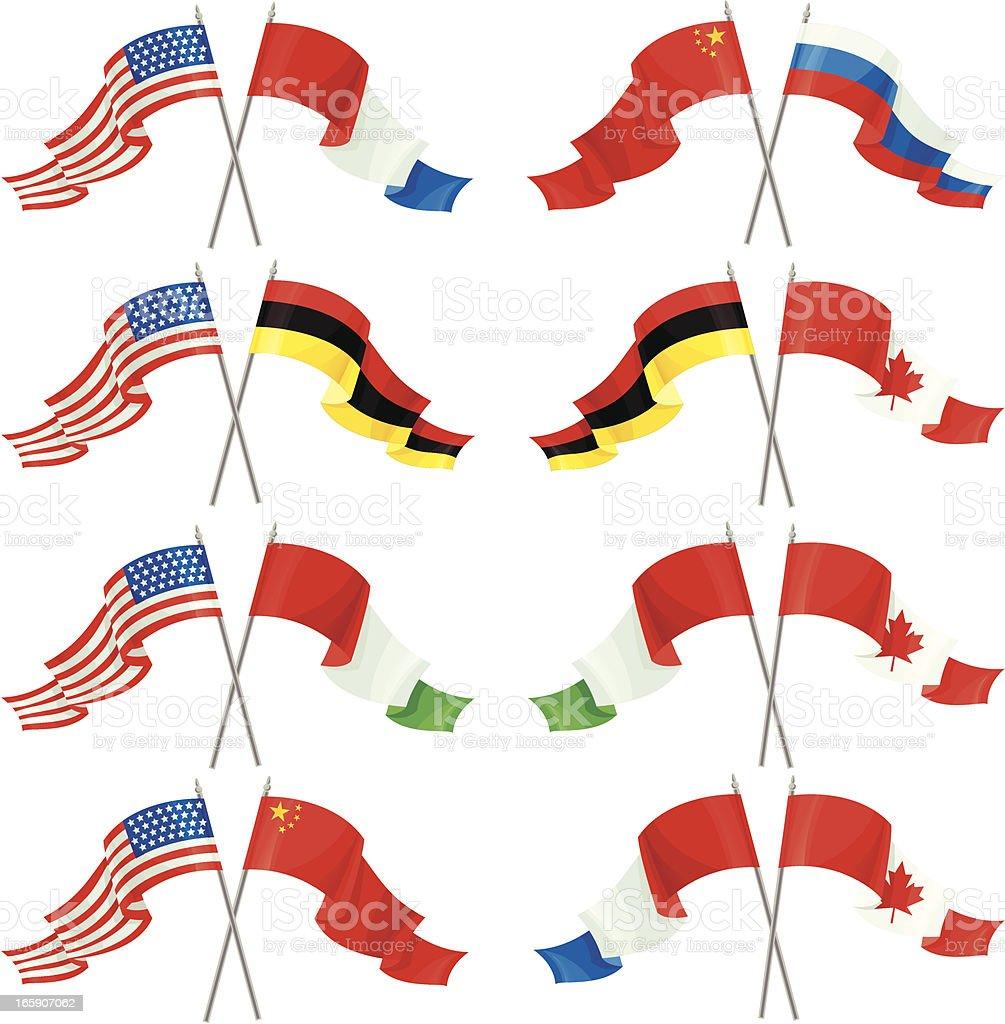 Set of International Friendship Flags royalty-free stock vector art